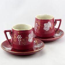 "Ancien TASSES à CAFÉ(x2) Faïence Opaque SARREGUEMINES ""Vigne"" digoin/coffee cups"
