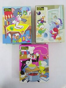 3 Vintage Whitman 100 Piece Puzzles Donald Duck Tom & Jerry Tweety & Sylvester