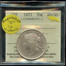 1871 Canada 50 Cents Half Dollar - ICCS AU-50