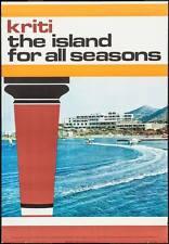 GREECE CRETE 1972 Vintage TOURISM TRAVEL poster 27x39 (not a repro)