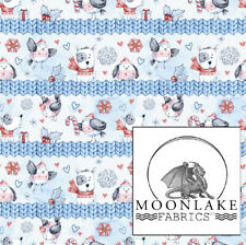 Dog Christmas with little robins Fabric 100% Cotton 130gsm Poplin * Exclusive *