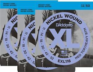 D'Addario  Guitar Strings  3 Pack  Electric  EXL116  Medium Top/Heavy Bottom