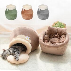 Pet Igloo Dog Cat Cave Bed Soft Plush Warm House Kennel Puppy Sofa Cushion Mat