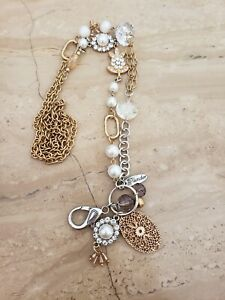 Plunder Design Jewelry Leah Gold & Silver, Pearls & Beads Charm Lanyard Necklace