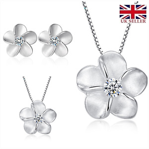 UK 'Forget me not' CZ Sterling Silver Jewellery Set Gfit Boxed