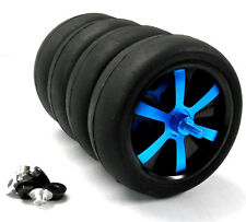 WLS-0004BUS 1/10 Scale Car Wheels Tyres Alloy Stylish Spinning Rims x 4 Blue