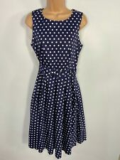 BNWT WOMENS DOLLY&DOTTY BLUE POLKA DOT 50'S VINTAGE ROCKABILLY SWING DRESS UK 12