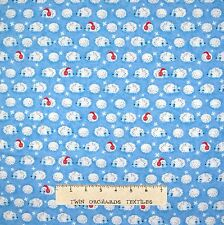 Christmas Fabric - Winter Hedgehogs on Light Blue - Timeless Treasures YARD