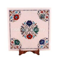 "12"" White Marble Top Coffee Table Semi Precious Mosaic Floral Inlay Decors W307"