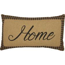 FARMHOUSE STAR HOME Pillow Primitive Burlap Black Check/Tan Rustic 7x13 VHC