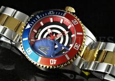 Invicta 44mm Marvel CAPTAIN AMERICA Pepsi Bezel 18K Gold IP & Silver TT Watch