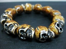 hot sale Cool Man's yellow Skull head Bead Mini Bracelet tibet gift