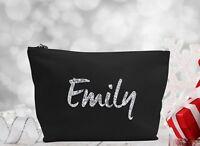 Personalised GLITTER Make Up/Wash Bag Christmas Gift Present Kids - Any name