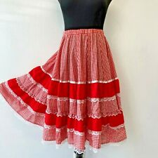 Vintage Square Dance Polka Skirt size M L Red and White Gingham Checked Lace SK1