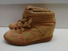 Schutz Brown Pink Suede Hi Lace Up Wedge Heel Fashion Sneaker Women's Shoe 7M 38
