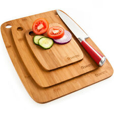 Savisto Bamboo Chopping Board Set | 3 Solid Wooden Kitchen Food Cutting Boards