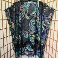 """BLUE ILLUSION"" SIZE ""3"" LADIES STUNNING COTTON PAISLEY KAFTAN STYLE BLOUSE/TOP"