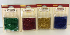 Lot Of Four Sets Lemax Village Christmas Tinsel Garland Green Red Blue Gold 5 Ft