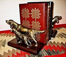 2 HEAVY BRONZED SPELTER VTG BOOK ENDS FIGURAL HUNTING DOGS 2 SETTERS MTL BASES