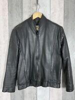 Vintage Men's 100% Leather Zip Through Bomber Harrington Jacket Size S