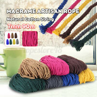 7mm 90m Natural Cotton String Twisted Cord Craft Macrame Rope DIY Hand Craft a