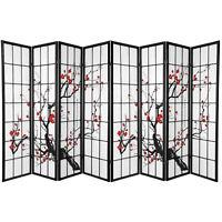 HONGVILLE Screen 8 Panel Black Plum Blossom Design Room Divider (8-Panel)