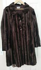 WILLS RIVER CO Elegant Faux Mink Fur Dark Brown Jacket Coat Size 12 EUC