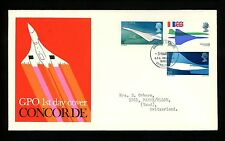 Postal History Great Britain Fdc #581-583 Sst Concorde airplane aviation 1969