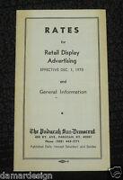 ☆ RARE 1970 Advertising Rate Card THE PADUCAH SUN-DEMOCRAT Newspaper Kentucky
