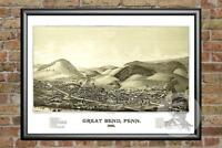 Old Map of Great Bend, PA from 1887 - Vintage Pennsylvania Art, Historic Decor