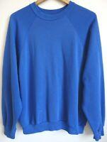 Vtg 80s Royal Blue Blank Surf Skate Grunge Distressed 50/50 Raglan Sweatshirt L