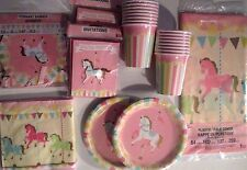 CAROUSEL Birthday/Shower Party Supply Kit w/ Banner & Invites FREE U.S. Ship