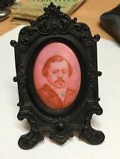 portrait photo miniature sur porcelaine signé B ALLIX & cadre en ébène 19 ème
