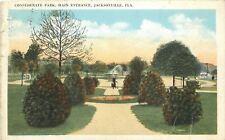 Jacksonville FL Fountain & Victorian Lady in Confederate Park c1920 Postcard pc