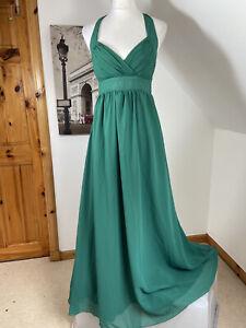 Amelia Maxi Dress Evening Green Chiffon Gown Size 12 Halter Neck Bridesmaid