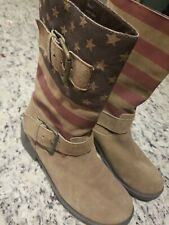 Sbicca Womens Size 6 leather Suede American Flag Boots Patriotic Brown Slouchy