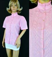 VTG 70s Jonquil Judy Bond Pink Embroidery Eyelet Lace Empire Collar Blouse Shirt