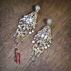 Boucles d'Oreilles Grosse Clips Pendante Chandelier Perle Vintage Mariage X7