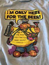 Vtg Ringer T-shirt Mens Unisex Here For The Beer Hipster Skater