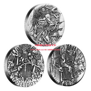 Australia 2014 Gods Of Olympus  Zeus Poseidon Hades 2 oz Silver 3 Coins Set