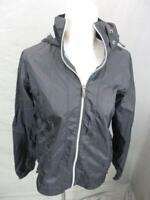 Columbia Size M Womens Black Full Zip 100% Nylon Hooded Windbreaker Jacket 043