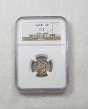 1942/41 Mercury Dime NGC F 15 Silver Overdate 10c