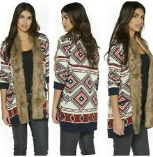 Ladies Size 16 Long Fur Collar Aztec Warm Winter quality Cardigan *RRP £35*