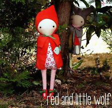LITTLE RED - Sewing Craft PATTERN - Cloth Rag Doll Red Riding Hood Wolf