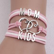 Fashion Double Love Heart Charm Leather Bracelet Family MOM KID Bracelet Jewelry