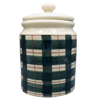 Hartstone Buffalo Check Green Plaid Canister Cookie Jar Container Farmhouse 5 lb