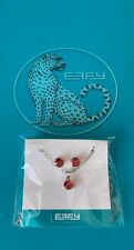 GENUINE EFFY Jewelry Set Ruby Red Necklace Pendant and Stud Earrings