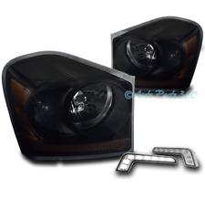 04-05 DODGE DURANGO SUV CRYSTAL STYLE HEADLIGHT LAMP BLACK/SMOKE +DRL LED SIGNAL
