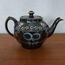 Antique SADLER ENGLAND Fine English Black Hand Painted Tea Pot Kettle 1629