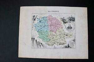 Map Tarn Region of France 1869 Atlas by Vuillemin